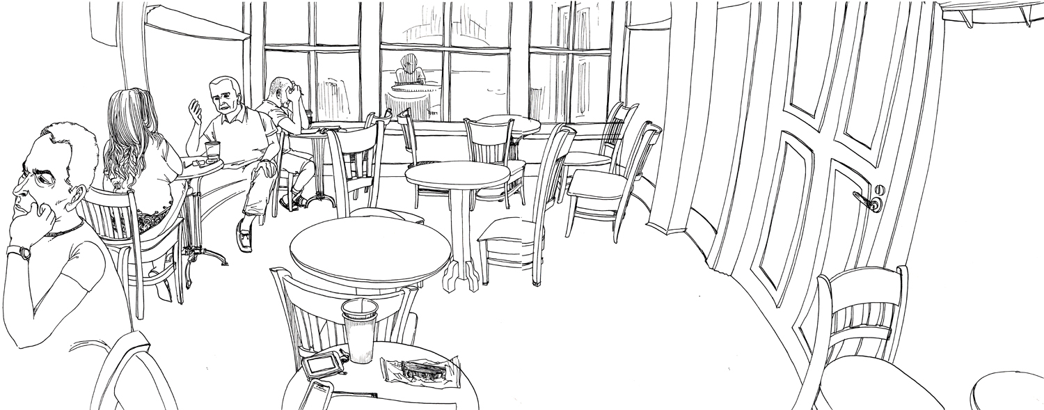 Cafe drawing interior - Advertisements